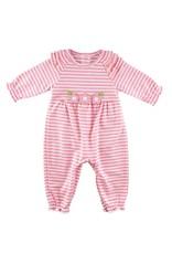 Florence Eiseman Stripe Knit Longall w/Flowers Pink