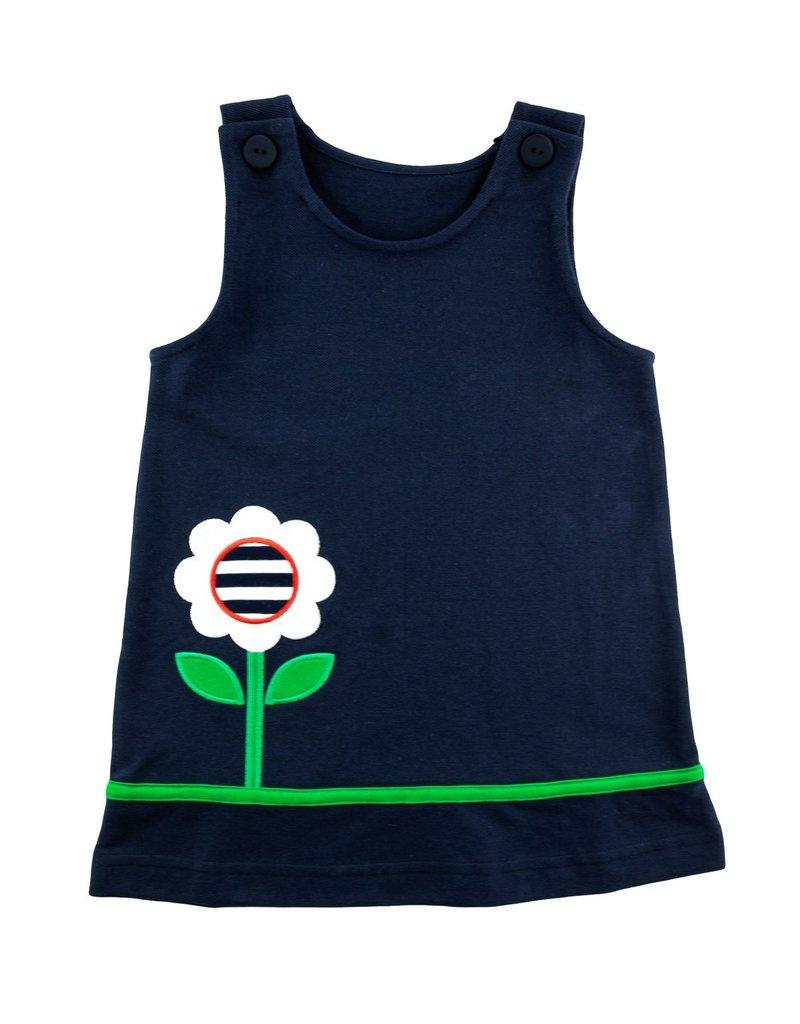Florence Eiseman Knit Jumper w/Flower Pocket Navy