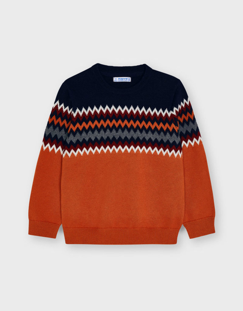 Mayoral Orange Jacquard Sweater