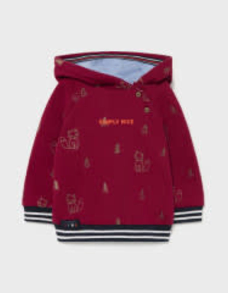 Mayoral Pullover Hoodie w/Fox Embroidery