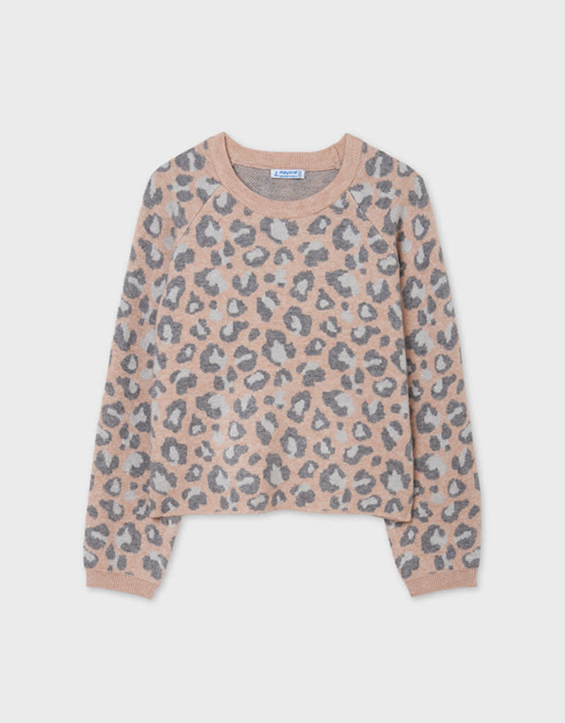 Mayoral Dusty Rose Leopard Print Sweater