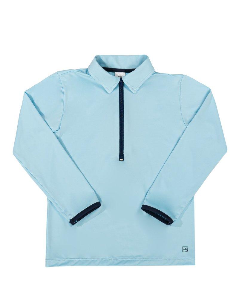 Set Athleisure Henry Half Zip  Lt Blue/Navy Zipper