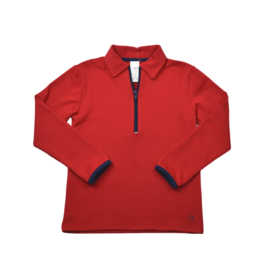 Set Athleisure Henry Half Zip Red Knit/Navy Zipper