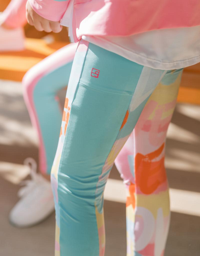 Set Athleisure Lila Legging Love Print/Turq Sides