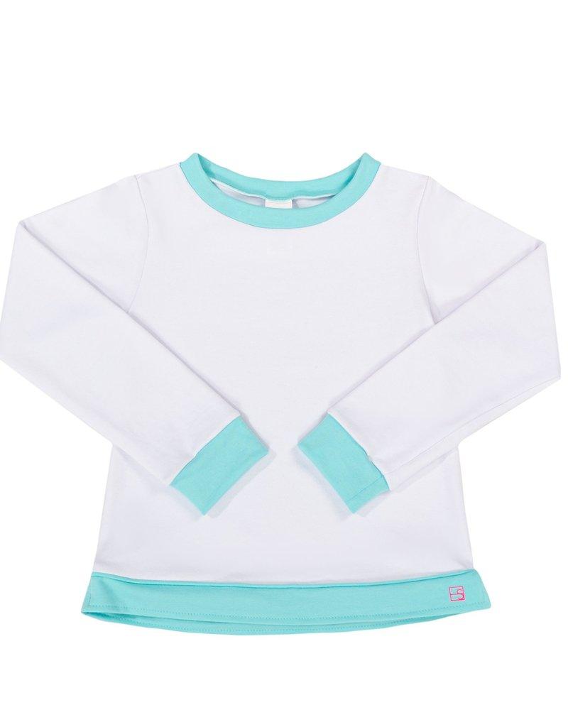 Set Athleisure Selena Sweatshirt White Knits/Turq Cuffs