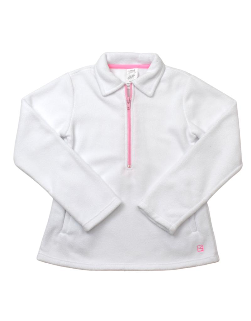 Set Athleisure Heather Half Zip White Fleece/Pink Zipper