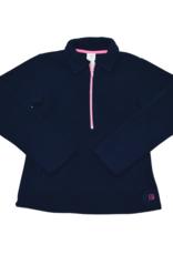 Set Athleisure Heather Half Zip Navy Fleece/Pink Zipper