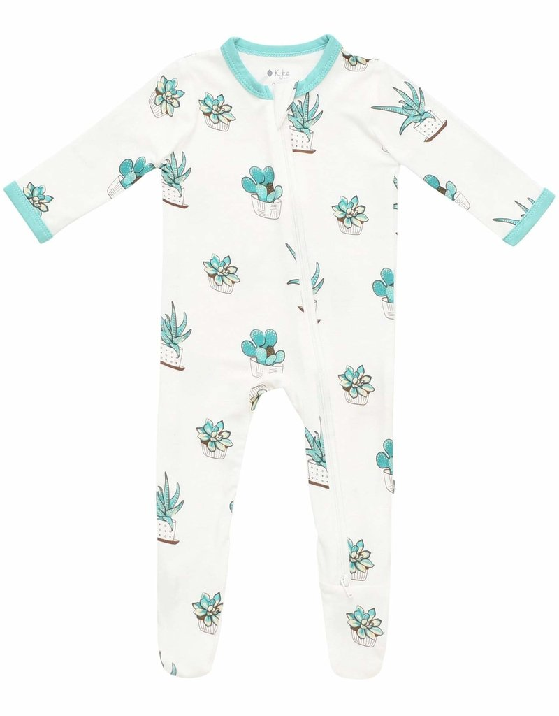 Kyte Baby Printed Zippered Footie  Succulent