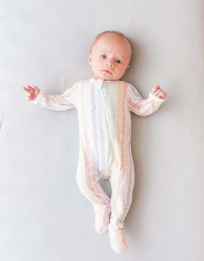Kyte Baby Printed Zippered Footie  Herringbone