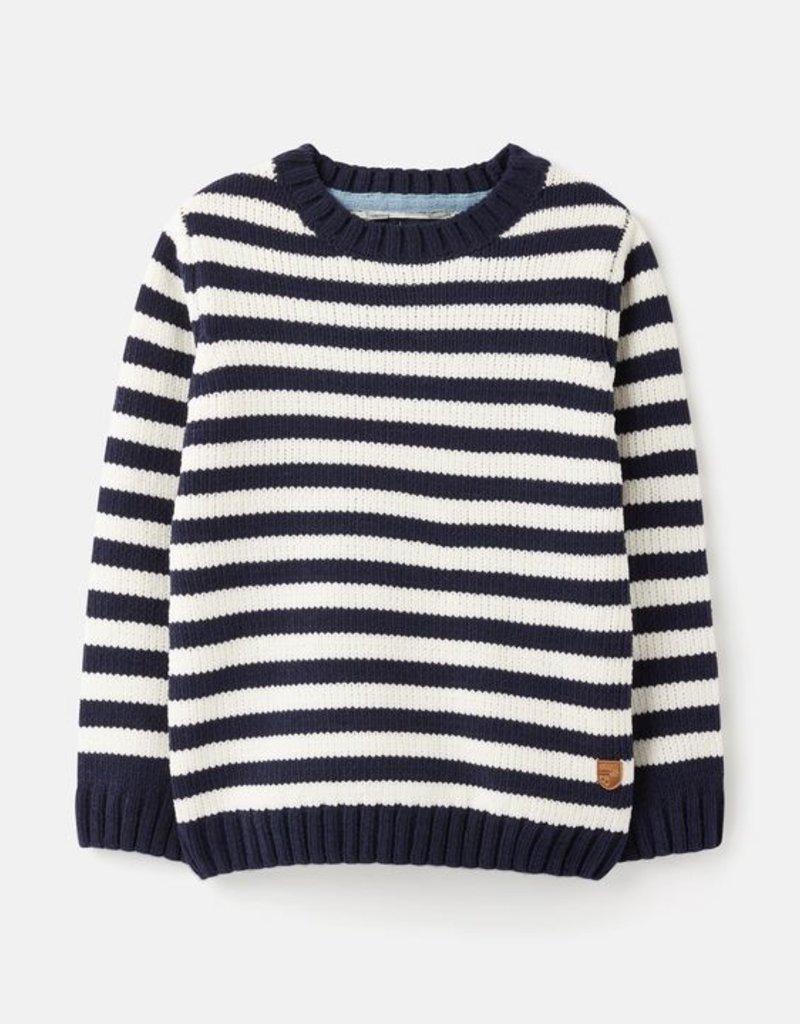 Joules Owen Navy Cream Stripe Sweater
