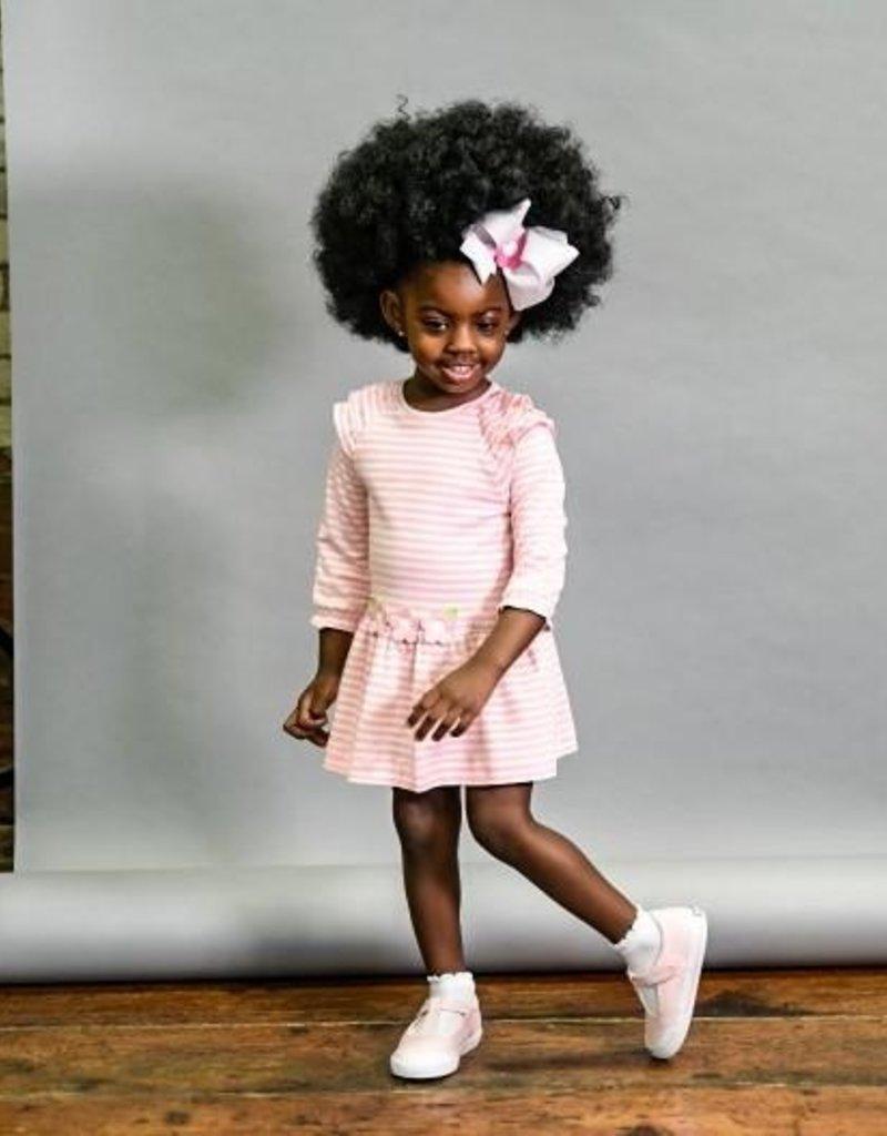Florence Eiseman Stripe Knit Dress w/Flowers Pink