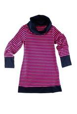 Florence Eiseman Stripe Knit Cowl Neck Fuchsia/Navy Dress