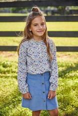 little english Emily Pocket Corduroy Skirt Stormy Blue