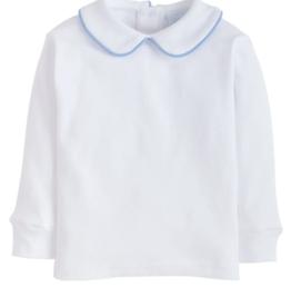 little english Piped Peter Pan Shirt Lt Blue