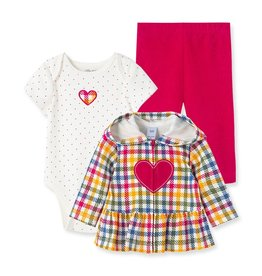 Little Me Heart 3pc Hoodie Set Red