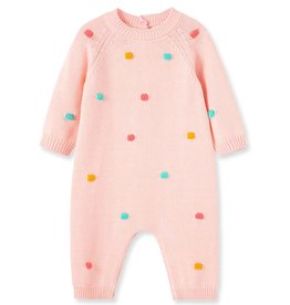 Little Me Knit Pink Dots Coverall