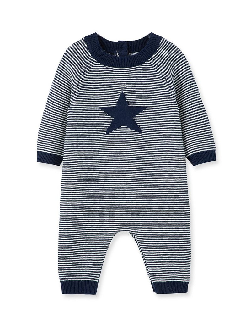 Little Me Knit Star Coverall Blue