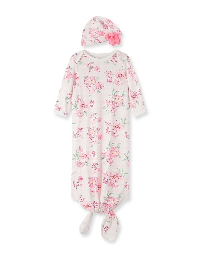 Little Me Pink Wildflower Gown w/Hat 0/3M