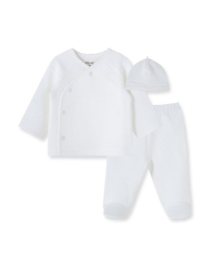 Little Me White Quilt 3pc Cardigan Set