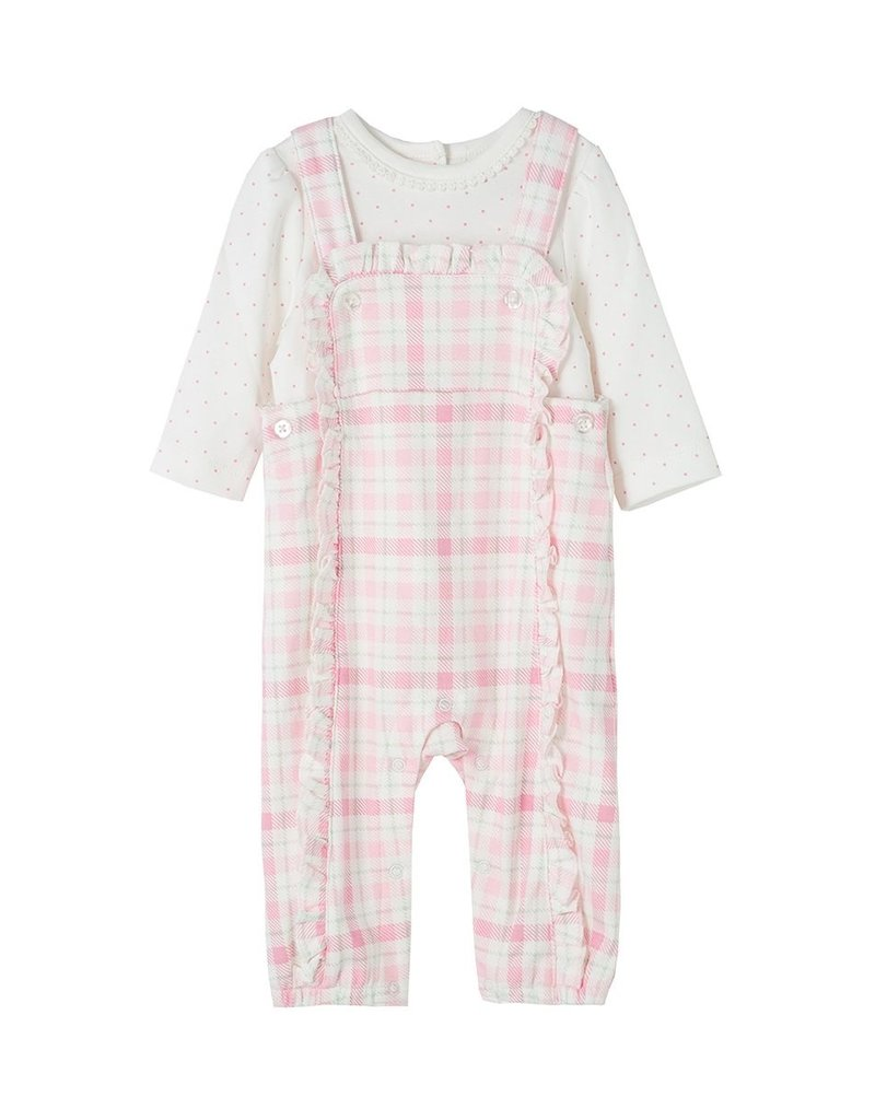 Little Me Pink Plaid Overall Set
