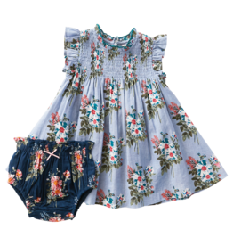 Pink Chicken Stevie Dress Set Faded Blue Franken Floral