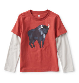 Tea Collection Bison Layered Graphic Tee Earth Red
