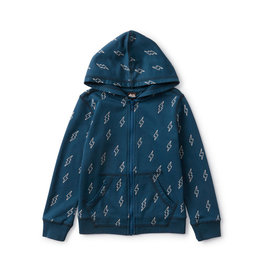Tea Collection Printed Zip Hoodie Blixt Bolts