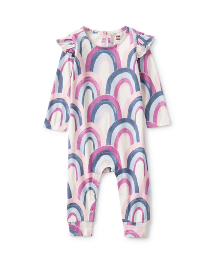 Tea Collection Printed Ruffle Shoulder Romper Over the Rainbow