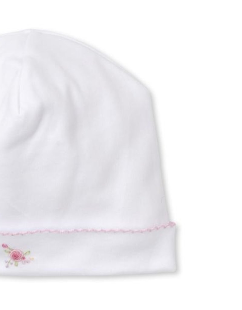 Kissy Kissy White/Pink Hat w/Hand Embroidery
