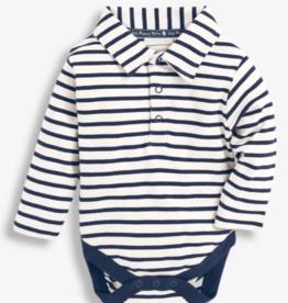 JoJo Maman BeBe Breton Polo Bodysuit Cream/Navy Stripe