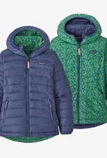 Patagonia Girls Rev Down Sweater Hoody CUBL Current Blue