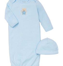 Little Me Cute Bear Gown w/Hat Lt Blue