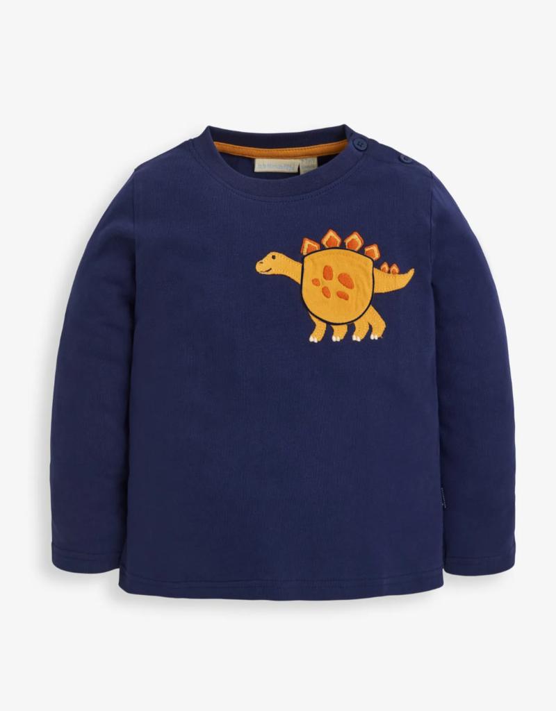 JoJo Maman BeBe Dino Navy Applique Pocket Top