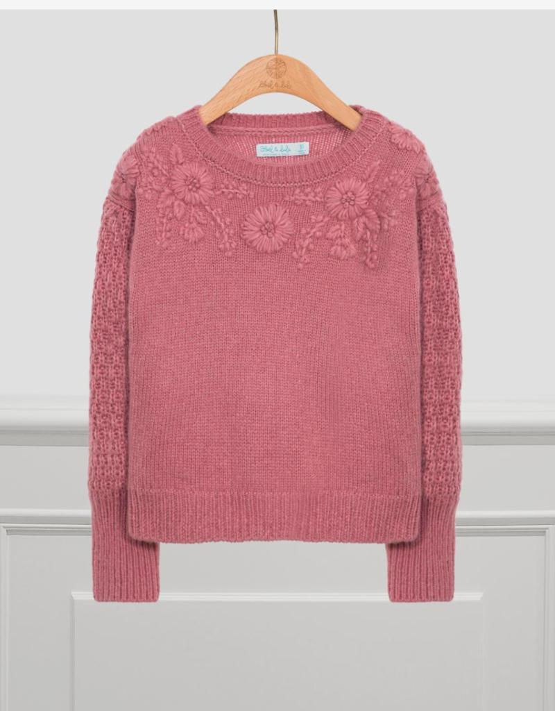 Abel & Lula Blush Floral Sweater