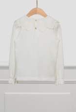 Abel & Lula Off White Embroidered Collar Shirt
