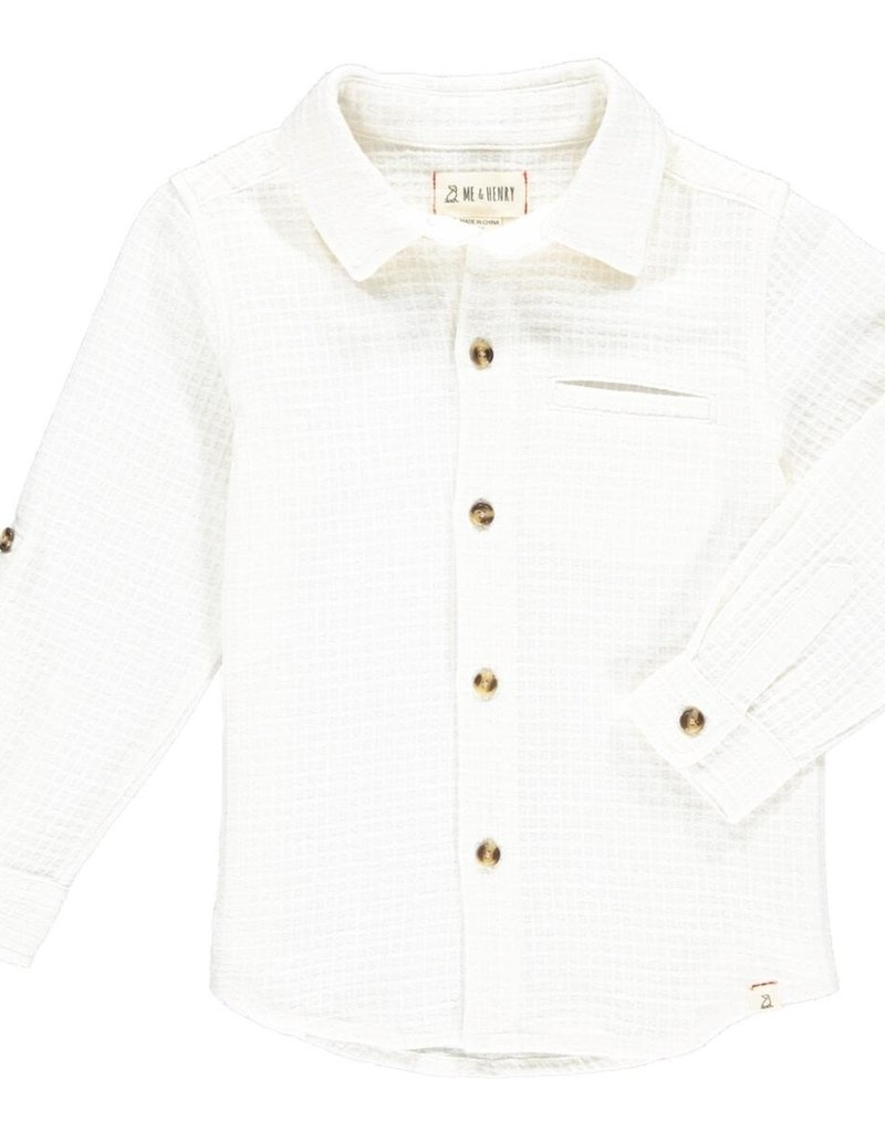 Me & Henry Atwood Woven Shirt White Waffle