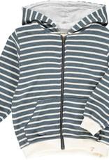 Me & Henry Parsons Zipped Hoodie Blue/Cream Stripe