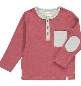 Me & Henry Mascot Henley Red/Grey Striped