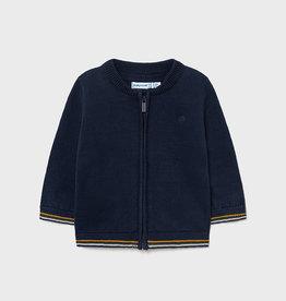 Mayoral Basic Blue Knit Zip Up Sweater