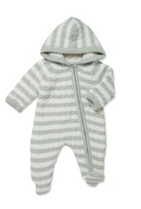 Angel Dear Sherpa Hooded Footie Grey Stripe 0/3M