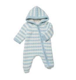 Angel Dear Sherpa Hooded Footie Blue Stripe 0/3M