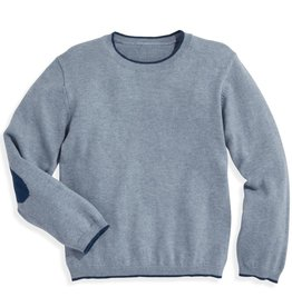 bella bliss Intarsia Elbow Patch Pullover Sky Blue