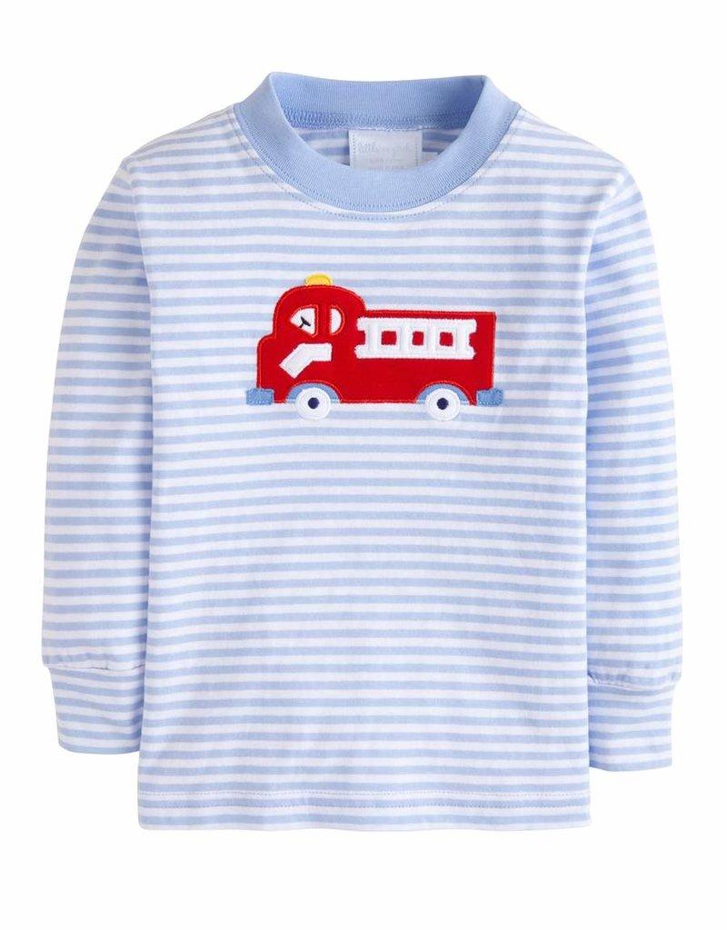 little english Applique T Shirt Fire Truck