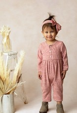 Mabel and Honey Peppermint Brittle Knit Romper Rose