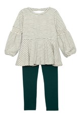 Mabel and Honey Love Earth Stripe Knit 2pc Set Green