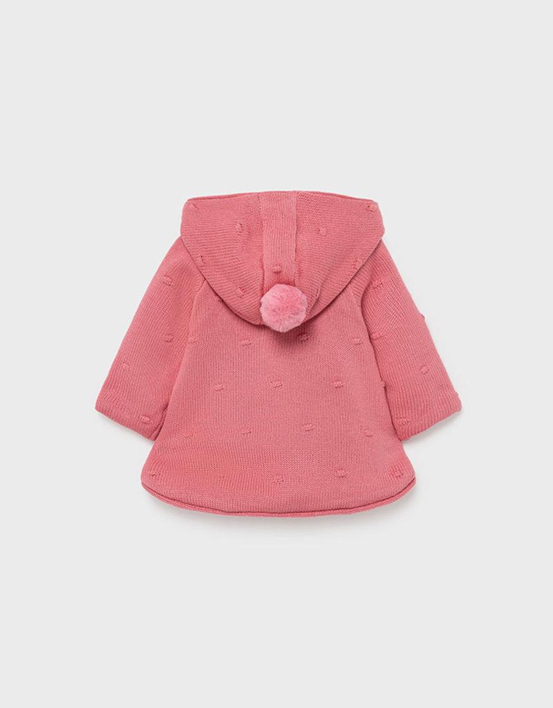 Mayoral Cranberry Pompon Knit Cardigan