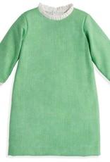 bella bliss Green Herringbone Ruffle Sleeve Dress