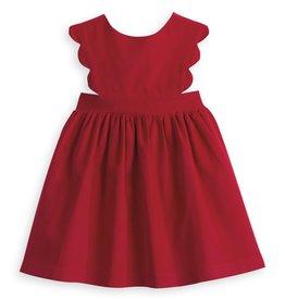 bella bliss Adalene Scalloped Corduroy Jumper Red