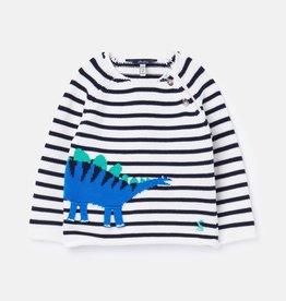 Joules Barney Knit Dinosaur Sweater Lt Blue Stripe