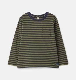 Joules Marlin L/S Green Navy Stripe Tee